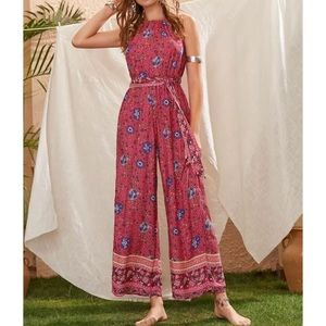 Boho Chic Belted Jumpsuit